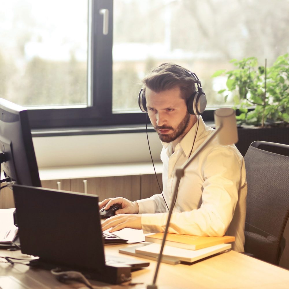 man-working-on-call-center-banner